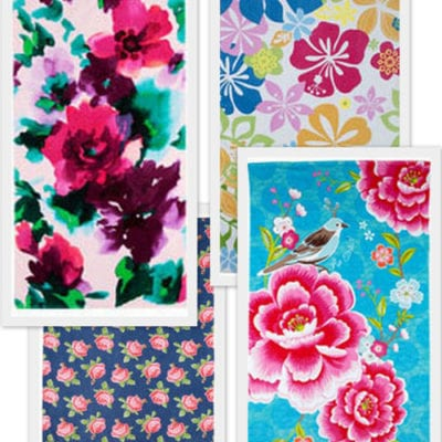 Five beautiful floral beach towels…