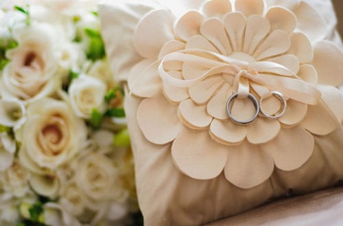 Beautiful hand-crafted wedding ring pillows from Anna Whitford
