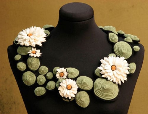 Stunning felt floral-inspired accessories from Danielle Gori-Montanelli