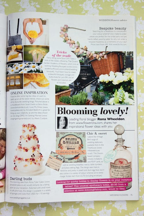 My 'Blooming lovely!' column in the new edition of Wedding Flowers magazine