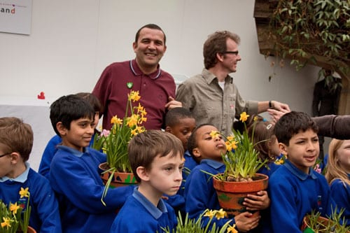 Spring bulb planting workshop for children with BBC Blue Peter gardener, Chris Collins