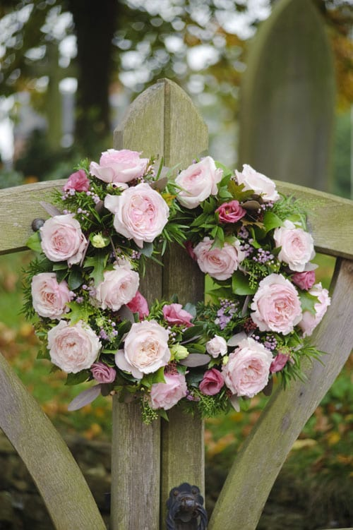 Keira-arrangement-on-church-gate-David-Austin-Roses