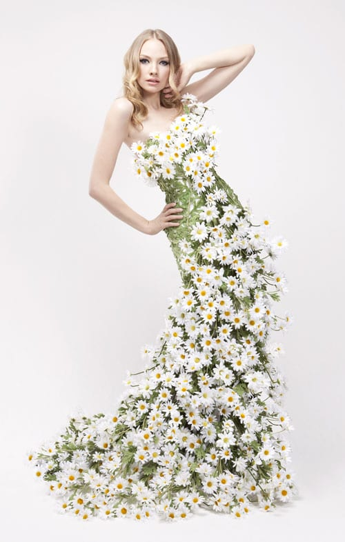 Stunning floral dresses for yardley london advertising for Wedding dress made of flowers
