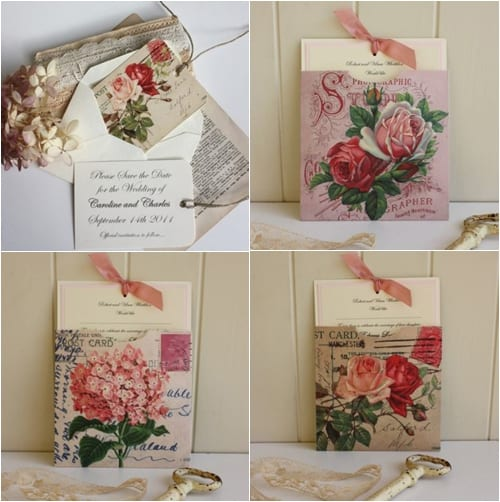 Vintage floral-inspired stationery from Claryce Design