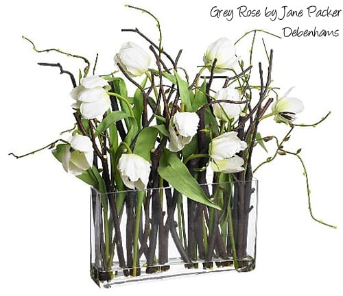 Grey-Rose-by-Jane-Packer-at-Debenhams-White-tulips-with-twigs-in-glass-vase