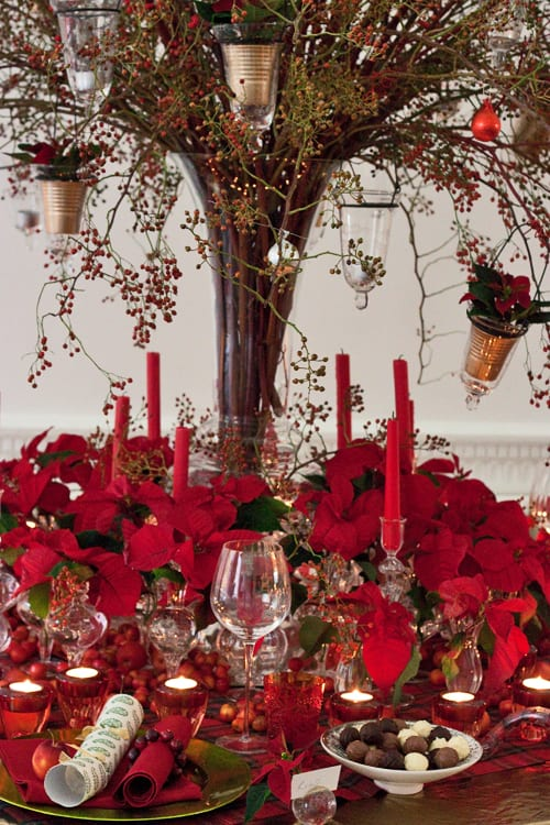 Poinsettia Christmas Table Design By Florist Paula Pryke