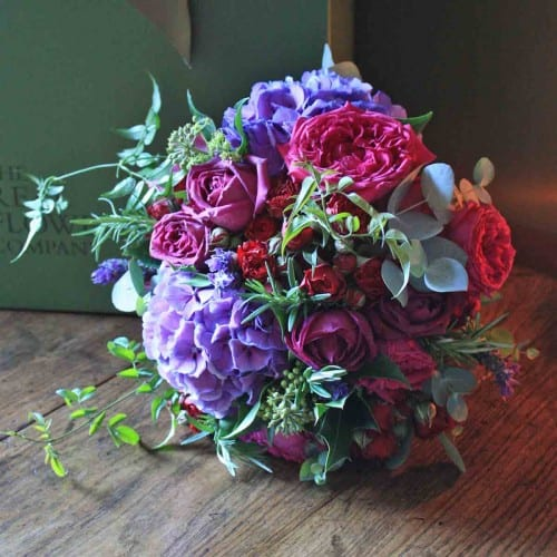 Purple Pink Hydrangea & Roses Bouquet - The Real Flower Company