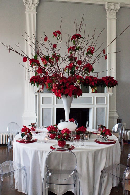 Poinsettia christmas table design by the urban flower firm