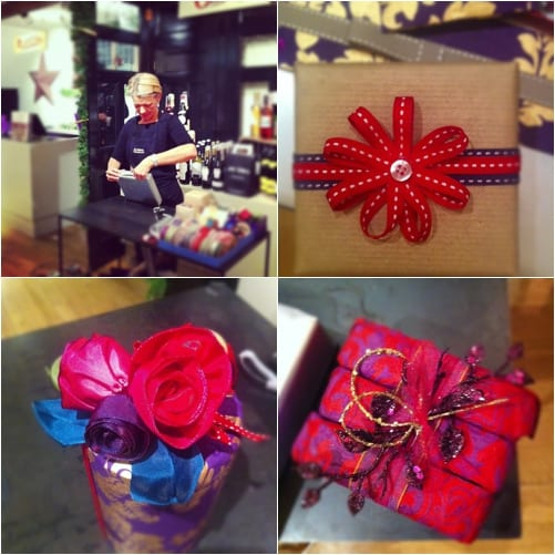 Jane Means giftwrapping at Liberty