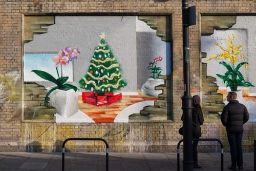 Orchid graffiti is adorning the streets of East London this month