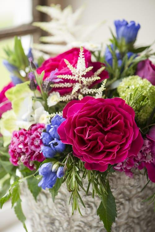 Mixed-cottage-garden-arrangement-in-vintage-tin-David-Austin-Roses
