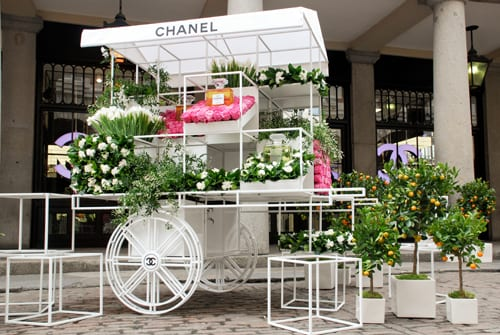 Chanel's fragrance discovery flower stall at Covent Garden for Mother's Day weekend