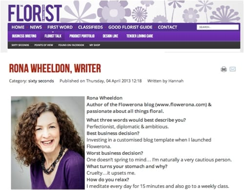 The Florist Magazine Rona Wheeldon Sixty Seconds Interview