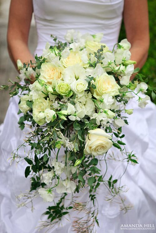 Wedding wednesday shower cascading trailing or waterfall bouquets