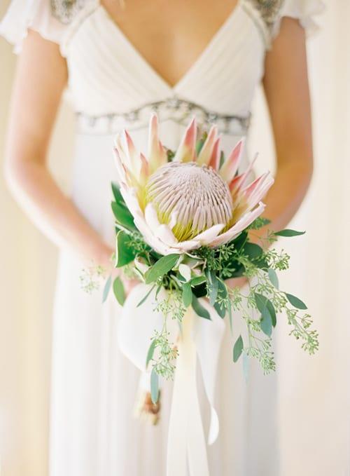 King Protea Bridal Bouquet Jose Villa Brown Paper Design