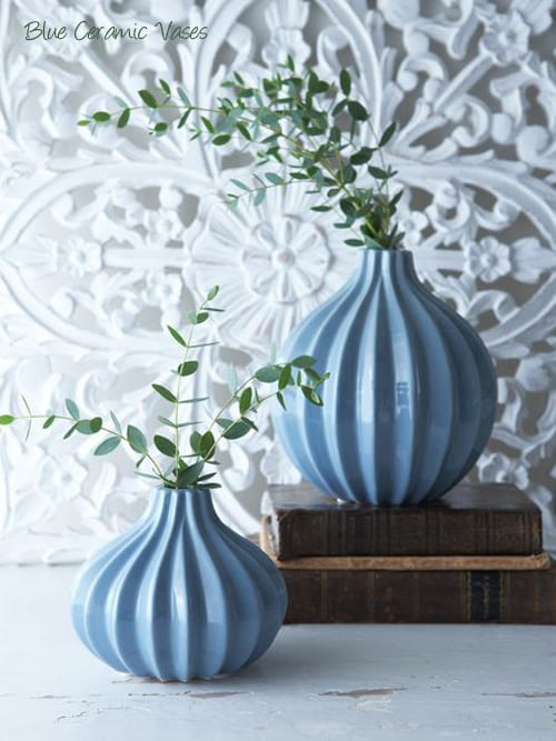Nordic-House-Blue-Ceramic-Vases