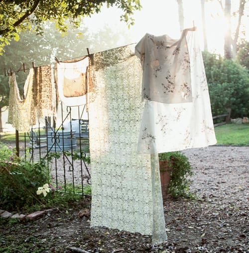 Country scene with linens on clothesline. #shabbychic #countrystyle