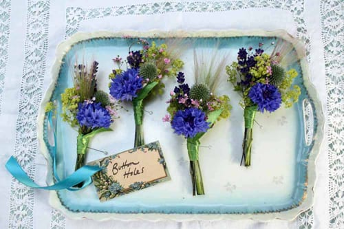 Green-and-Gorgeous-Cornflower-buttonholes