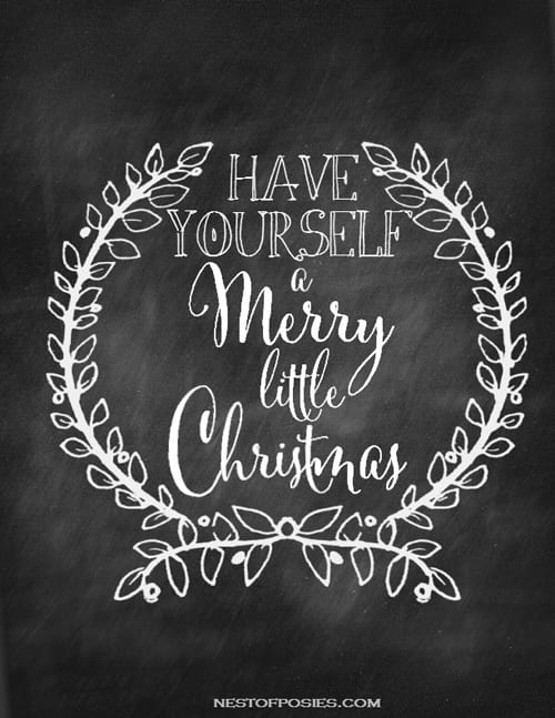 Have-yourself-a-Merry-little-Christmas-Chalkboard-Printable Nest of Posies