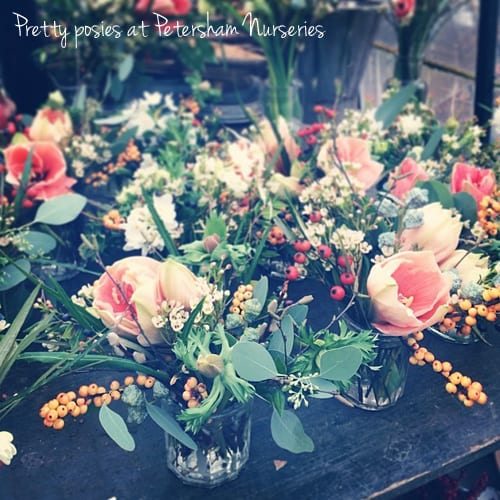 Jam-jars-of-peach-flowers-Petersham-Nurseries-Flowerona-a