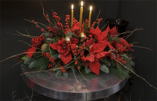 Press Event for International Poinsettia Day at Neill Strain's boutique in London