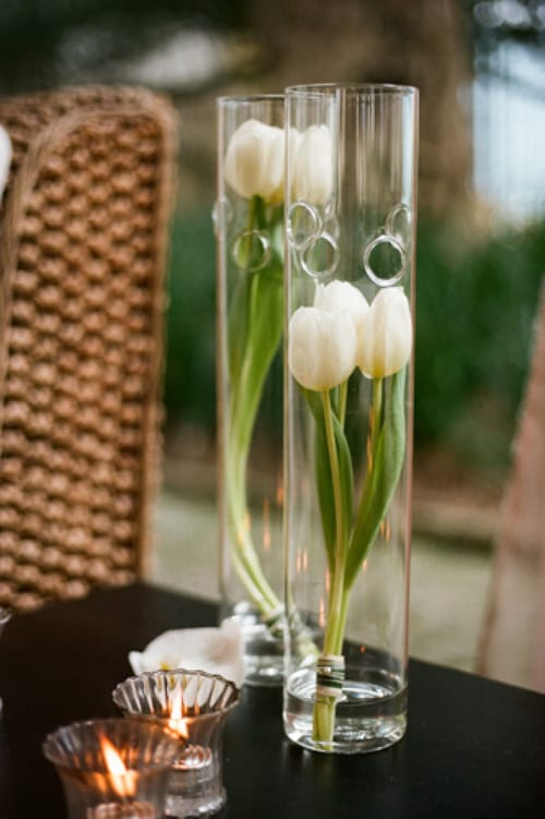 Style-Me-Pretty-A-Bryan-Photography-White-Tulips-in-Vases