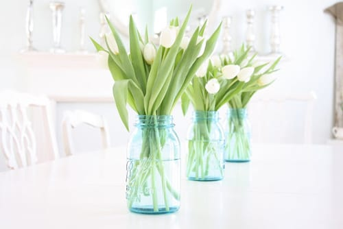 White-Tulips-in-Turquoise-Mason-Jars-French-Larkspur-Blog