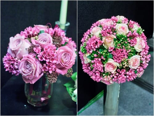 Fabulous wedding flower designs by Wildabout at the Sandown Park Wedding Fair