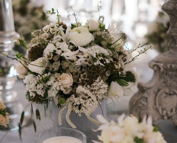Beautiful white, ivory & nude wedding flowers by Zita Elze