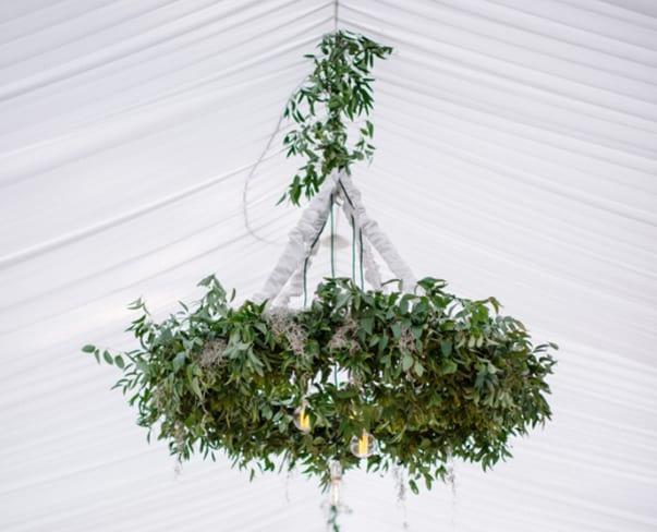 Wedding Wednesday : On Trend – Foliage chandeliers