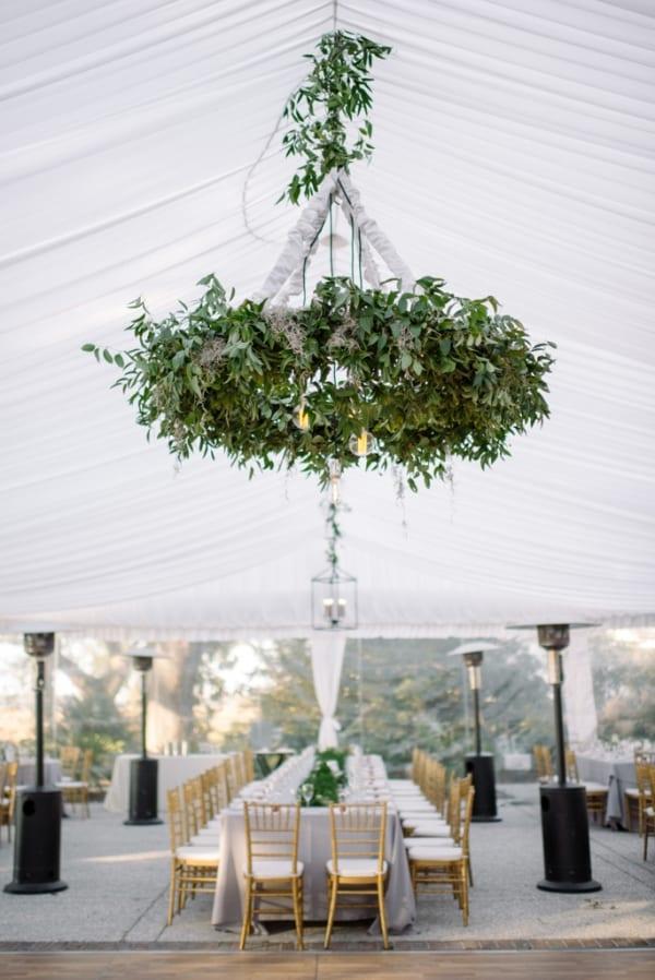 Wedding Wednesday On Trend Foliage Chandeliers Flowerona