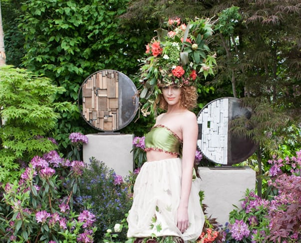RHS Chelsea Flower Show 2015 – Floral dress & headdress by Okishima & Simmonds for Hillier Nurseries