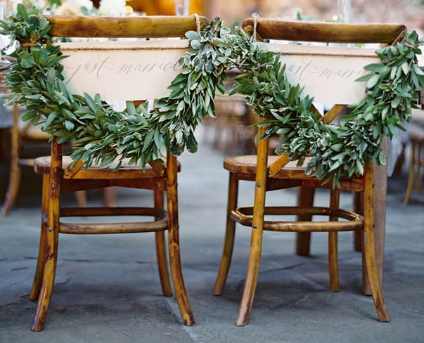 Wedding Wednesday : On Trend – Foliage Chair Backs