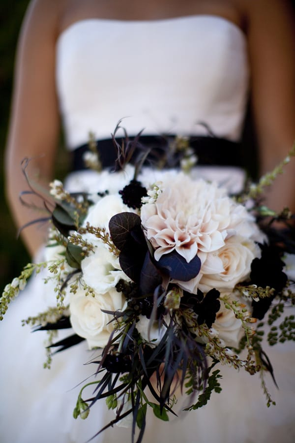 Cafe au lait dahlia wedding bouquet Nancy Liu Chin Bokeh Photography Style Me Pretty a