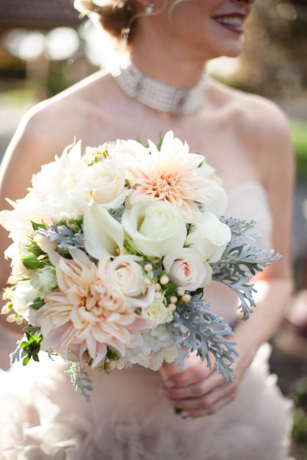 Cafe au lait dahlia wedding bouquet Stems Megan Clouse Style Me Pretty a