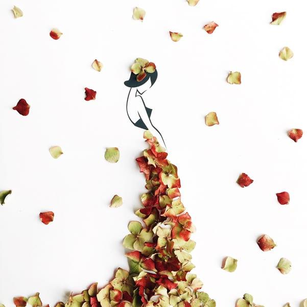Georgie-St-Clair-Painting-Grace-fashion-flower-autumn-dresses