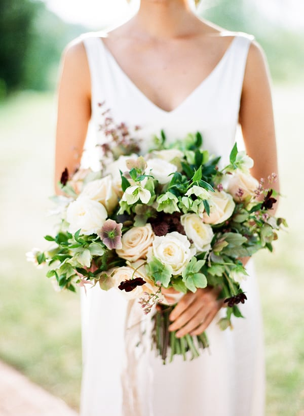 Hellebore wedding bouquet white green floral design styling mallory joyce   photographer eric kelley