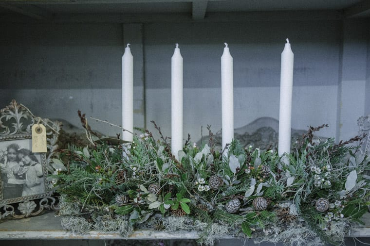 Candle table arrangement in Zita Elze's Flower shop in Kew, London