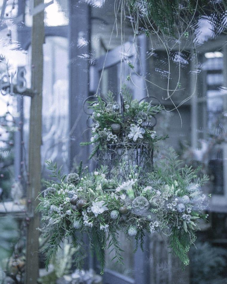 Floral chandelier in Zita Elze's Flower shop in Kew, London