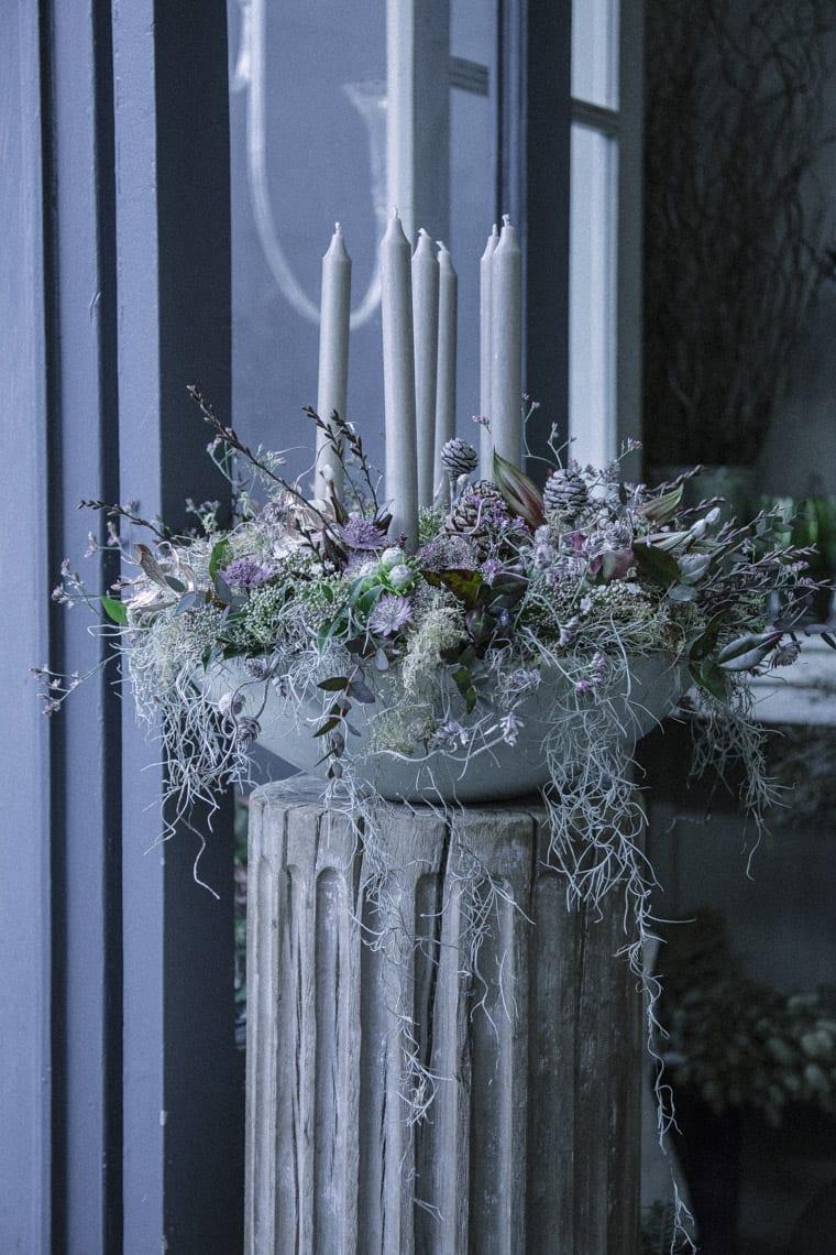 Candle arrangement in Zita Elze's Flower shop in Kew, London