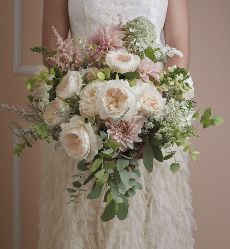 David Austin Roses Wedding Bouquet in Pastel Pink and Cream
