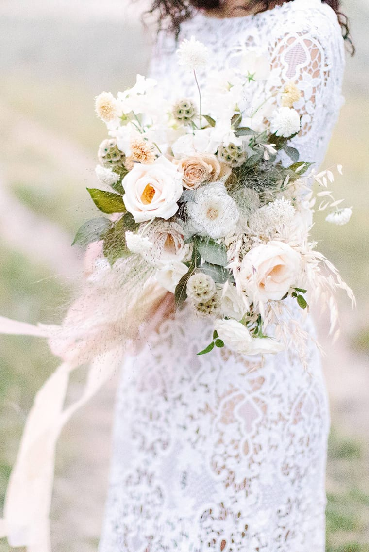 Beautiful cream bridal bouquet by Fairmaven Floral photographed by EMILY MICHELSON PHOTOGRAPHY