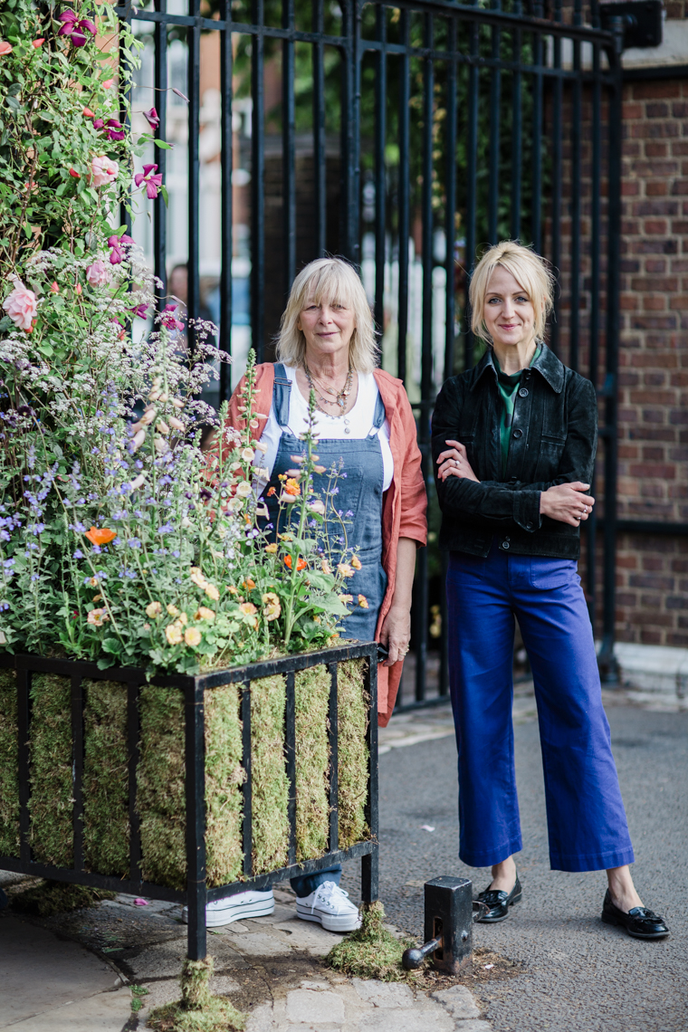 JamJar Flowers founder Melissa Richardson (left) and director Amy Ireland (right) at the London Gate at RHS Chelsea Flower Show 2019