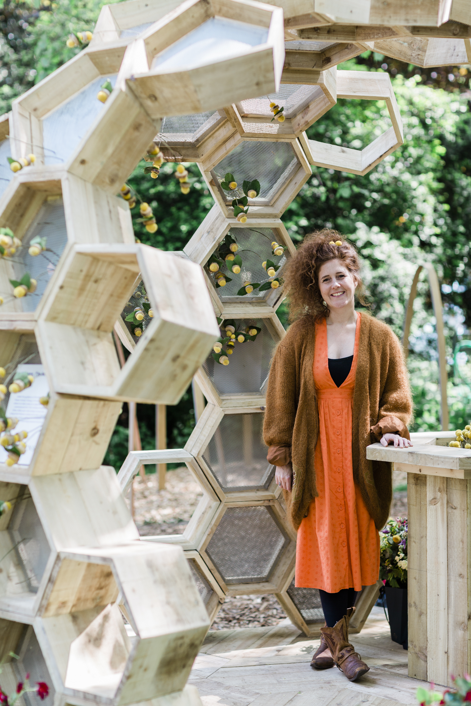 McQueens Flower School Principal, Sophie Powell at the RHS Chelsea Flower Show 2019