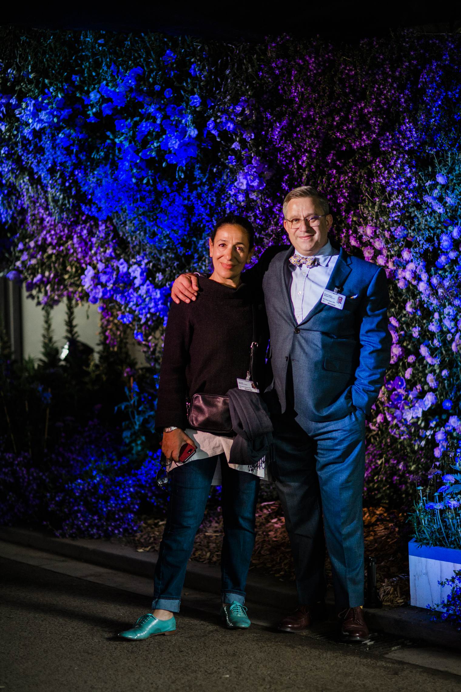 McQueens founder and owner Kally Ellis (left) and new managing director, Richard Eagleton (right) at the RHS Chelsea Flower Show 2019