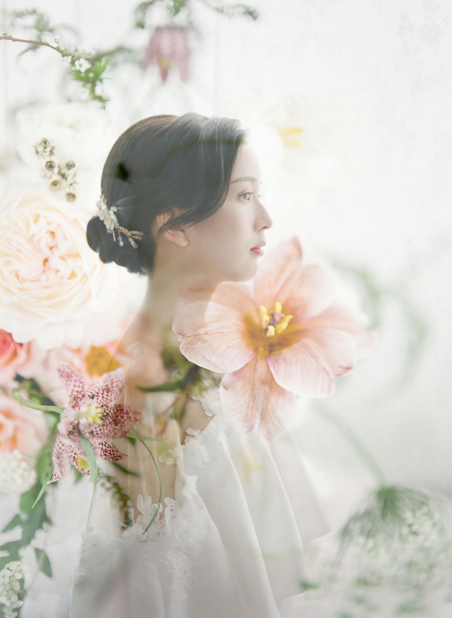 Double Exposure image by photographer Fengjin Li and flowers by floral designer The Parade of Floral Alchemy