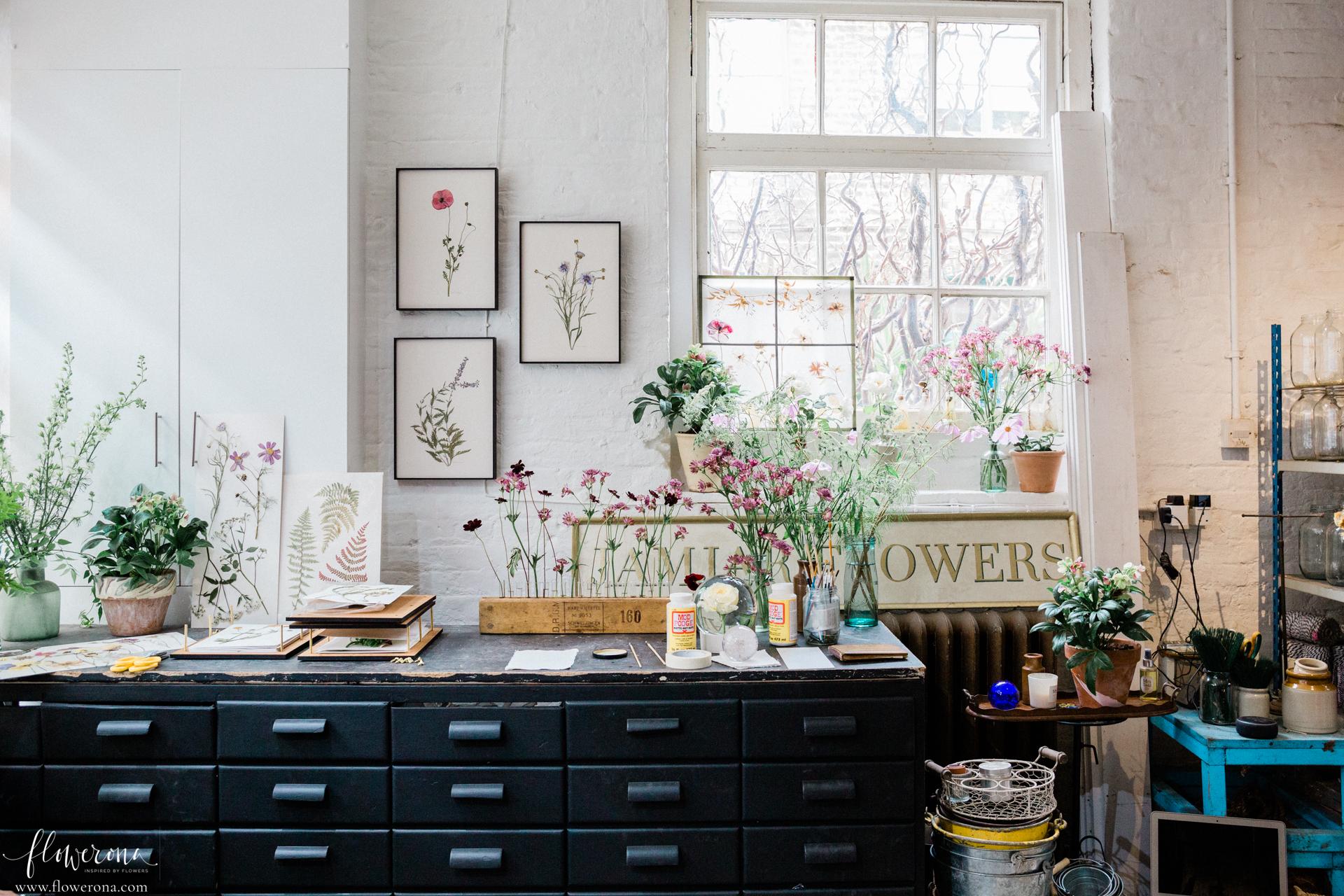 Flower Pressing at the JamJar Flowers Studio