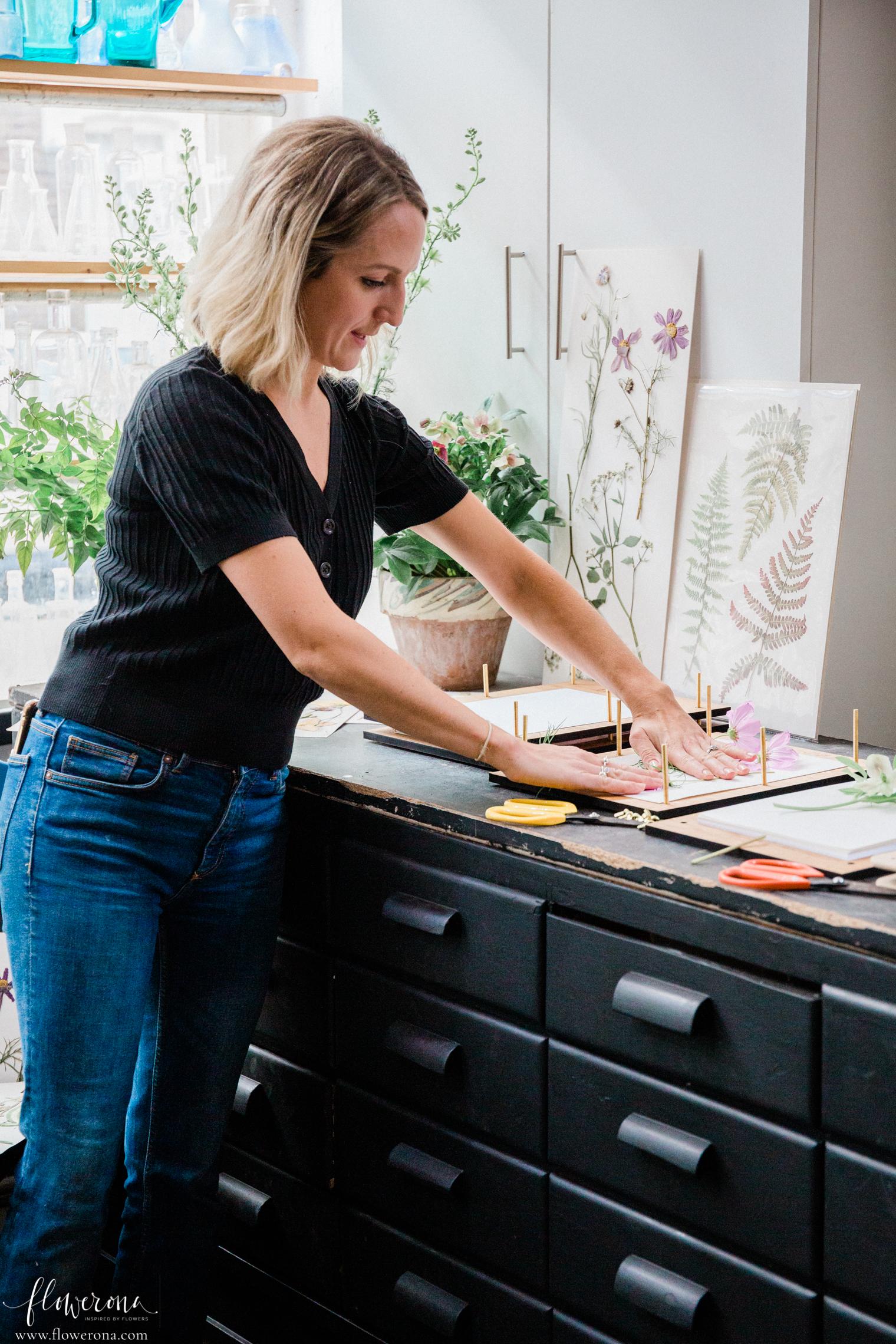 Amy Fielding at Flower Pressing & Cyanotype Print Workshop with JamJar Edit